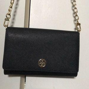 Tory Burch black wallet style cross body